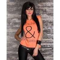 LÄSSIGES SHIRT MIT PRINT YOUNG & DANGEROUS NEON-ORANGE