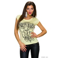 CASUAL SHIRT WITH RHINESTONES AND PRINT PARTY HARD YELLOW/BLACK