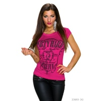CASUAL SHIRT WITH RHINESTONES AND PRINT PARTY HARD FUCHSIA/BLACK Onesize (UK 8,10,12)