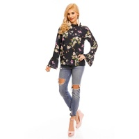 LONG-SLEEVED CHIFFON BLOUSE WITH FLOWERS AND FRILLS NAVY