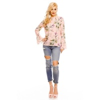 LONG-SLEEVED CHIFFON BLOUSE WITH FLOWERS AND FRILLS PINK