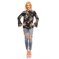 LONG-SLEEVED CHIFFON BLOUSE WITH FLOWERS AND FRILLS BLACK