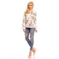 LONG-SLEEVED CHIFFON BLOUSE WITH FLOWERS AND FRILLS WHITE