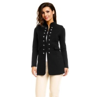 ELEGANT LONG LADIES BLAZER JACKET IN MILITARY LOOK BLACK