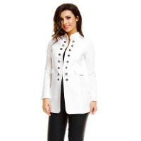 ELEGANT LONG LADIES BLAZER JACKET IN MILITARY LOOK WHITE