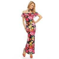 LONG CARMEN MAXI DRESS WITH FLOUNCE AND FLORAL PATTERN FUCHSIA