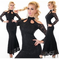 ELEGANT LONG GLAMOUR EVENING LACE DRESS WITH SEQUINS BLACK