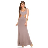 LONG GODDESS-LOOK MAXI EVENING DRESS WITH CUT-OUTS CAPPUCCINO
