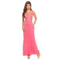 LONG GODDESS-LOOK MAXI EVENING DRESS WITH CUT-OUTS CORAL