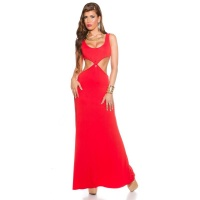 LONG GODDESS-LOOK MAXI EVENING DRESS WITH CUT-OUTS RED