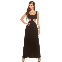 LONG GODDESS-LOOK MAXI EVENING DRESS WITH CUT-OUTS BLACK