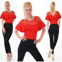 ELEGANT LATINA OVERALL JUMPSUIT WITH FLOUNCES RED/ BLACK
