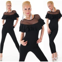 ELEGANT LATINA OVERALL JUMPSUIT WITH FLOUNCES BLACK