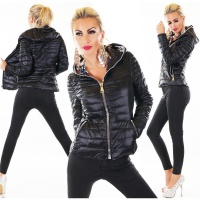 QUILTED LADIES JACKET BLOUSON WITH XXL ZIPPER AND HOOD BLACK