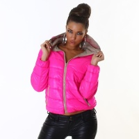 LIGHT QUILTED JACKET WITH ZIPPER AND HOOD FUCHSIA/BEIGE