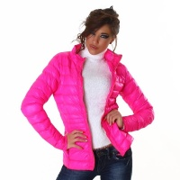 LIGHT QUILTED JACKET WITH ZIPPER AND STAND-UP COLLAR FUCHSIA UK 14 (L)