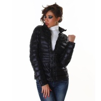 LIGHT QUILTED JACKET WITH ZIPPER AND STAND-UP COLLAR BLACK