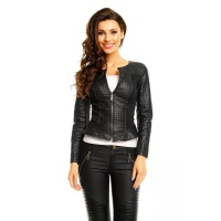 LIGHT SLIM-FIT STRETCH JACKET WITH STITCHED LEATHER-LOOK BLACK UK 10 (S)