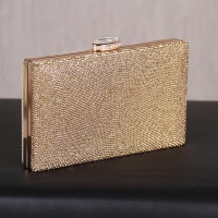 LUXURY GLAMOUR CLUTCH BAG WITH RHINESTONES AND CHAIN...