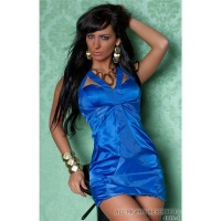 LUXURY GLAMOUR MINIDRESS WITH SATIN BLUE UK 10