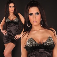 PRECIOUS SATIN BANDEAU DRESS MINIDRESS WITH RHIESTONES BLACK UK 12 (L)