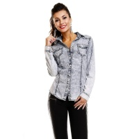 TRENDY LONG-SLEEVED JEANS BLOUSE IN ACID-WASHING BLUE
