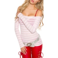 RACY CARMEN LONG-SLEEVED SHIRT WITH TRANSPARENT STRIPES PINK