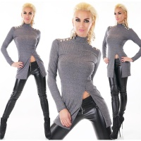 RIB-KNITTED LONG SWEATER WITH SLIT AND GOLDEN BUTTONS GREY Onesize (UK 8,10,12)