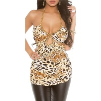 SEXY BACKLESS PARTY HALTERNECK TOP WITH CHAINS LEOPARD Onesize (UK 8,10,12)