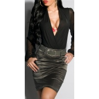 ELEGANT SATIN PENCIL SKIRT WITH PINSTRIPES INCL. BELT DARK GREY