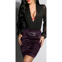 ELEGANT SATIN PENCIL SKIRT WITH PINSTRIPES INCL. BELT PURPLE