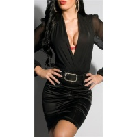 ELEGANT SATIN PENCIL SKIRT WITH PINSTRIPES INCL. BELT BLACK