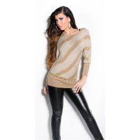 TRENDY KNITTED SWEATER WITH BATWING SLEEVES BEIGE