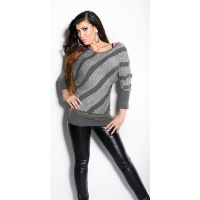 TRENDY KNITTED SWEATER WITH BATWING SLEEVES LIGHT GREY