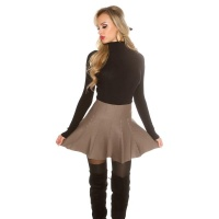 SWINGING KNITTED HIGH-WAISTED MINI SKIRT IN A-LINE FORM CAPPUCCINO UK 8/10 (S/M)