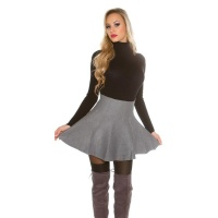 SWINGING KNITTED HIGH-WAISTED MINISKIRT IN A-LINE FORM GREY
