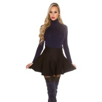 SWINGING KNITTED HIGH-WAISTED MINISKIRT IN A-LINE FORM BLACK