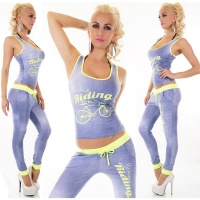 SEXY 2 PCS FITNESS JOGGING YOGA SPORT-SET BLUE/NEON YELLOW Onesize (UK 8,10,12)