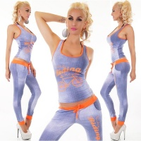 SEXY 2-TEILIGES SPORT-SET JOGGING YOGA TOP+HOSE BLAU/NEON-ORANGE Einheitsgröße (34,36,38)
