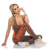 SEXY 2-TEILIGES SPORT-SET JOGGING YOGA TOP+HOSE GRAU/NEON...
