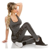 SEXY 2 PCS FITNESS JOGGING YOGA SPORT SET GREY/BLACK