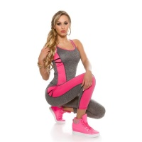 SEXY 2-TEILIGES SPORT-SET YOGA JOGGING TOP+HOSE GRAU/NEON PINK