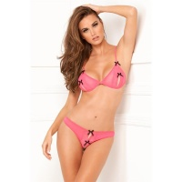 SEXY 2 PCS LACE PEEK-A-BOO BRA AND CROTCHLESS THONG SET FUCHSIA UK 12/14 (M/L)