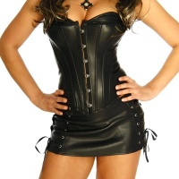 SEXY 2 PCS GOGO-SET LEATHERETTE CORSAGE AND MINISKIRT BLACK UK 10 (M)