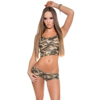 SEXY 2 PCS GOGO-SET WITH CUT-OUTS CLUBWEAR ARMY-LOOK OLIVE