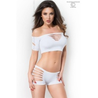 SEXY 2 PCS GOGO-SET WITH CUT-OUTS TOP + HOTPANTS CLUBWEAR...