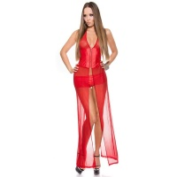 SEXY 2 PCS STRIPPER SET WITH TULLE GOGO CLUBWEAR WET LOOK RED