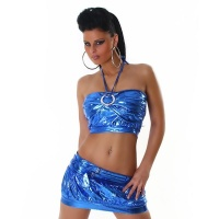 SEXY 2-TLG GOGO-SET TOP+ROCK CLUBWEAR METALLIC-LOOK BLAU
