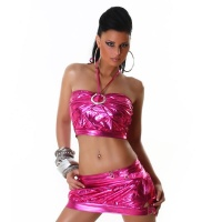 SEXY 2-TLG GOGO-SET TOP+ROCK CLUBWEAR METALLIC-LOOK PINK