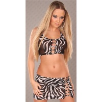 SEXY 2-TLG GOGO-SET TOP+ROCK CLUBWEAR ZEBRA-OPTIK SCHWARZ/WEISS